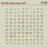 Stor djärv linje symbolssats för UI och UX Royaltyfri Fotografi