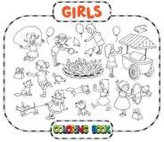Stor färgläggningbok med att spela flickor vektor illustrationer