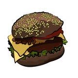 Stor färgrik hamburgare, vektorillustration Arkivfoto
