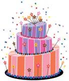 stor födelsedagcake stock illustrationer