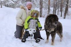 Stor förälskelse för barn och djur Arkivfoton