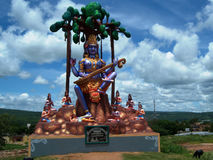 Stor FÖREBILD av gudinnan Saraswati nära Srisailam Fotografering för Bildbyråer