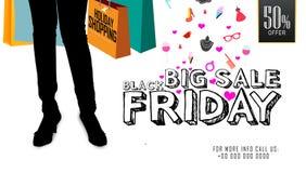 Stor försäljning Black Friday, design för kort för hälsning för berömmar för erbjudande för feriehändelsefestival 50% Royaltyfria Bilder