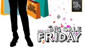 Stor försäljning Black Friday, design för kort för hälsning för berömmar för erbjudande för feriehändelsefestival 50% Arkivbilder