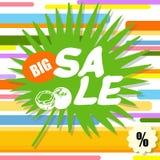 Stor försäljning, färgrik abstrakt bakgrund med det gröna bladet Royaltyfri Foto