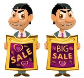 stor försäljning för baner Den roliga mannen rymmer shoppingpåsen fotografering för bildbyråer
