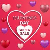 Stor försäljning för valentindagkort med hjärtaballons med text stock illustrationer