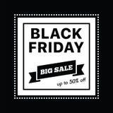 Stor försäljning femtio procent på svart illustration för fredag shoppingvektor Royaltyfria Foton