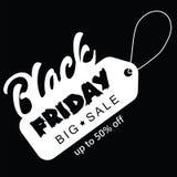 Stor försäljning femtio procent på svart illustration för fredag shoppingvektor Royaltyfri Bild