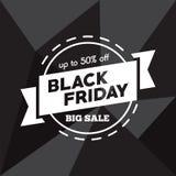 Stor försäljning femtio procent på svart illustration för fredag shoppingvektor Arkivfoton