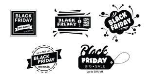 Stor försäljning på svart fredag shopping på den vita bakgrundsvektorillustrationen Fotografering för Bildbyråer