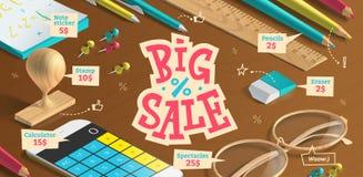 Stor försäljningsaffisch för annonsering vektor illustrationer