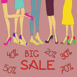 Stor försäljningsbakgrund av skor Arkivbilder