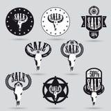 Stor försäljningsetikettsuppsättning med västra design Royaltyfria Bilder