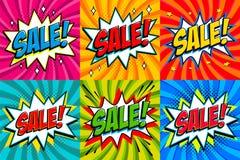 Stor försäljningsuppsättning Komiska stilmallbaner 4 Sale inskrifter på färg vridna bakgrunder rengöringsduk för Pop-konst komike royaltyfri illustrationer