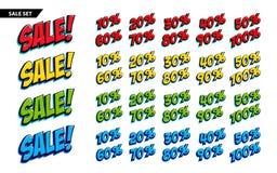 Stor försäljningsuppsättning Pop-konst komikerstil på vit Sale för fyra färg inskrift och 10, 20, 30, 40, 50, 60, 70, 80, 90 Royaltyfria Bilder