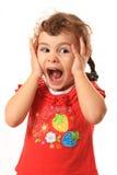 stor förvånad barnöverrrakning Royaltyfria Bilder