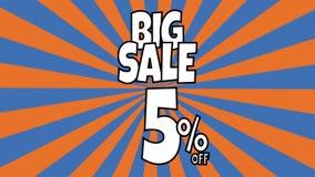 Stor f?rs?ljningsanimering 5 procent försäljningstext som förläggas på sunburst band som roterar bakgrund med orange och blå färg