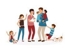 Stor familj med många barn Stressade och trötta föräldrar eller utmattad mamma och farsa och otäcka ungar som isoleras på vit royaltyfri illustrationer