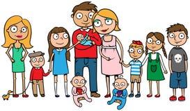 Stor familj med många barn Fotografering för Bildbyråer