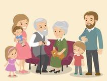 Stor familj tillsammans Vektorillustration av en plan designkatt vektor illustrationer
