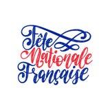 Stor fest Nationale Francaise, handbokstäver Uttryck som översätts till den engelska franska nationella dagen 14th Juli vektorbeg Royaltyfri Fotografi