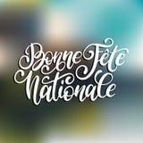 Stor fest Nationale Francaise, handbokstäver Uttryck som översätts till den engelska franska nationella dagen 14th Juli vektorbeg Arkivfoto