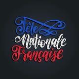 Stor fest Nationale Francaise, handbokstäver Uttryck som översätts till den engelska franska nationella dagen 14th Juli vektorbeg Royaltyfria Bilder