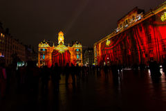 Stor festdes Lumieres 2014 Arkivbild