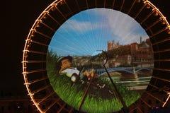 Stor festdes Lumieres 2014 Arkivbilder