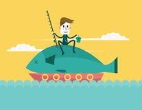 Stor fisk för affärsmanlås Arkivfoto