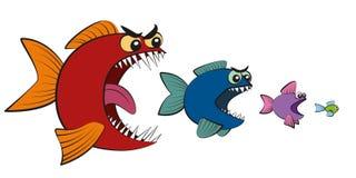 Stor fisk som äter liten fiskkomiker royaltyfri illustrationer