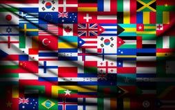 Stor flaggabakgrund som göras av världslandsflaggor Arkivfoton