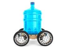 Stor flaska av dricksvatten med hjul Royaltyfria Bilder