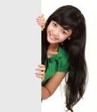 stor flickaholding för blankt kort Royaltyfria Foton