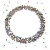 Stor folkmassa av folk som flyttar sig in mot mitten som bildar en cirkel Royaltyfria Bilder