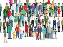 Stor folkmassa av olikt folk vektor illustrationer