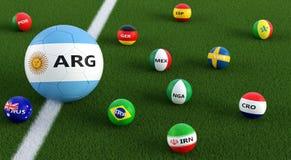 Stor fotbollboll i Argentinas medborgarefärger som omges av mindre fotbollbollar i andra nationella färger Royaltyfria Bilder
