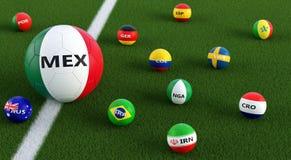 Stor fotbollboll i Mexicos medborgarefärger som omges av mindre fotbollbollar i andra nationella färger Arkivbild