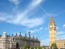 Stor framsida för klocka för förbudElizabeth torn, slott av Westminster, Londo Arkivbilder