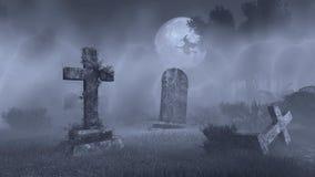 Stor fullmåne ovanför gammal spöklik kyrkogård Royaltyfria Bilder