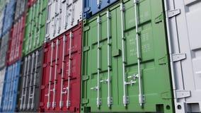 Stor gård för lastbehållare Modern logistik blir grund det sömlösa loopable gemet för dockan 4K, fokusen, ProRes arkivfilmer