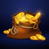 Stor gammal påse för tecknad film med guld- mynt Bända vektorbegrepp för kassa vektor illustrationer