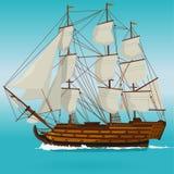 Stor gammal trähistorisk segelbåt på det blåa havet Arkivbild