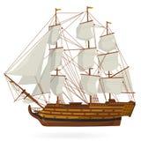 Stor gammal trähistorisk segelbåtspansk gallion på vit Med seglar, masten, bruntdäcket, vapen Arkivbild