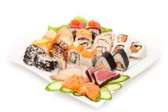 Stor gjord maträtt av sushi Royaltyfria Bilder