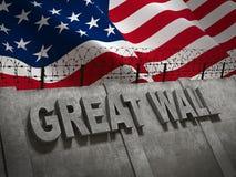 Stor gränsvägg mellan Amerika och Mexico med flaggan av tolkningen för Amerikas förenta stater 3D Arkivfoton