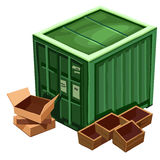 Stor grön behållare för gods och ask royaltyfri illustrationer