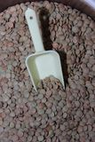 Stor grön placernärbild för linser med gul sopskyffel Arkivfoto
