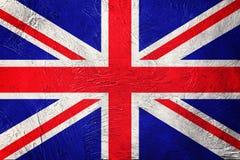 stor grunge för britain flagga Union Jack flagga med grungetextur Royaltyfri Bild